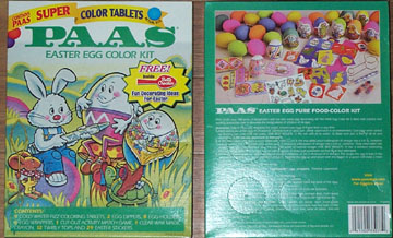 photograph front/back of Paas egg coloring kit